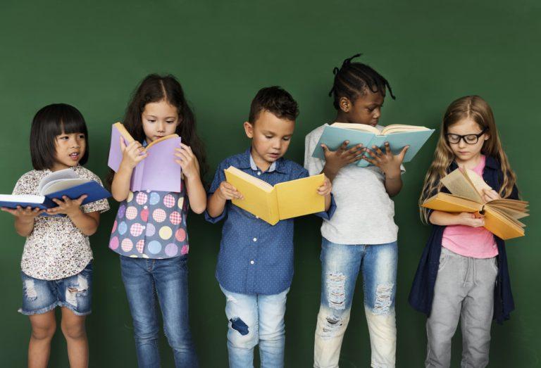 Diverse kids reading books