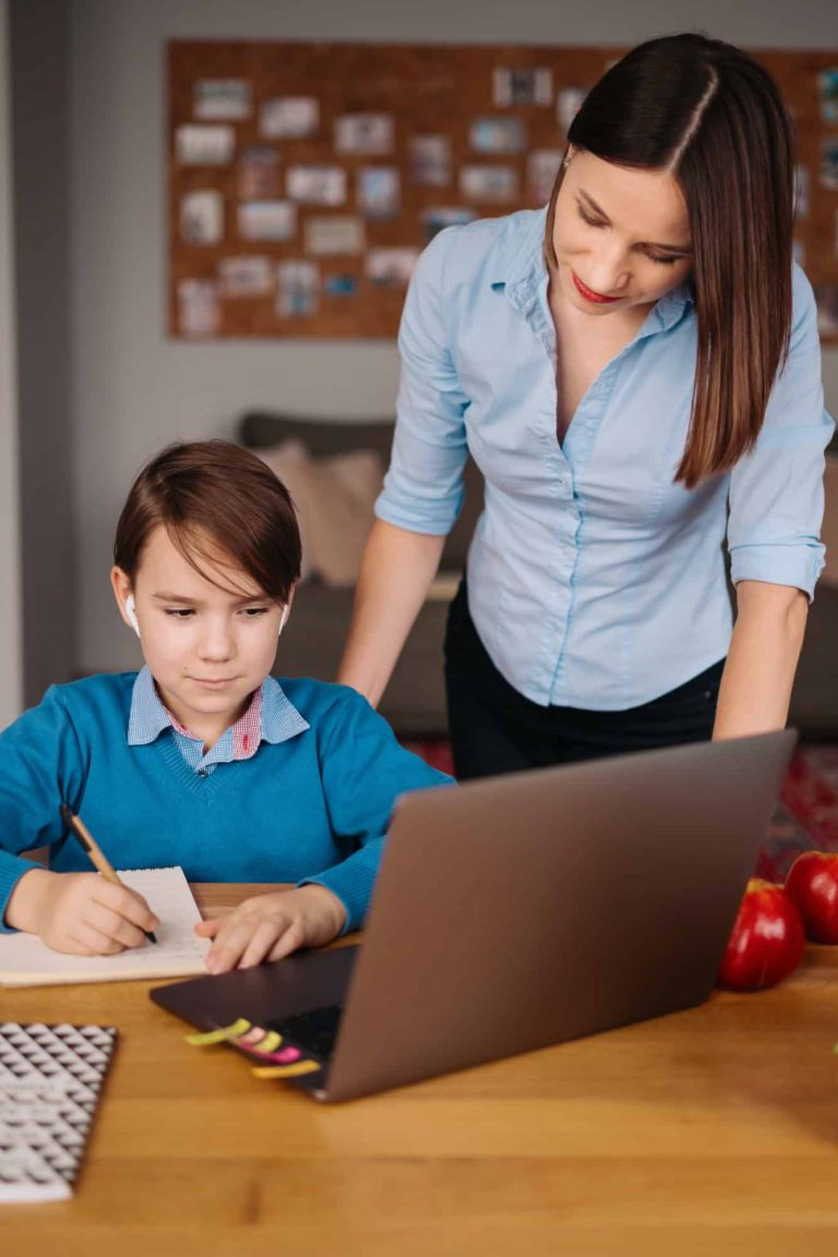 Online learning using laptop, teacher and boy