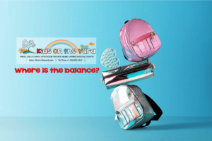 Where is the balance? The creative concept of back to school. School supplies are balanced on a blue background.