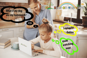 Mom helps her daughter do her homework in the kitchen with a laptop on the Internet