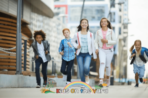 How to Beat the Morning Rush?, Group of children rushing to school