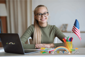 Cute teen girl with USA flag using a laptop, Homeschool, Standardized Tests by state, How can I help my child succeed on standardized tests? State Tests, Build Test Skills, Home Test Prep, Test Taking Tips, Minimize Anxiety