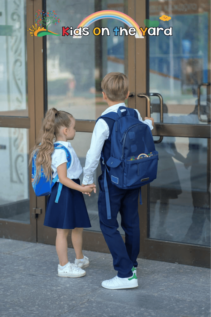 Older brother takes his little sister to school