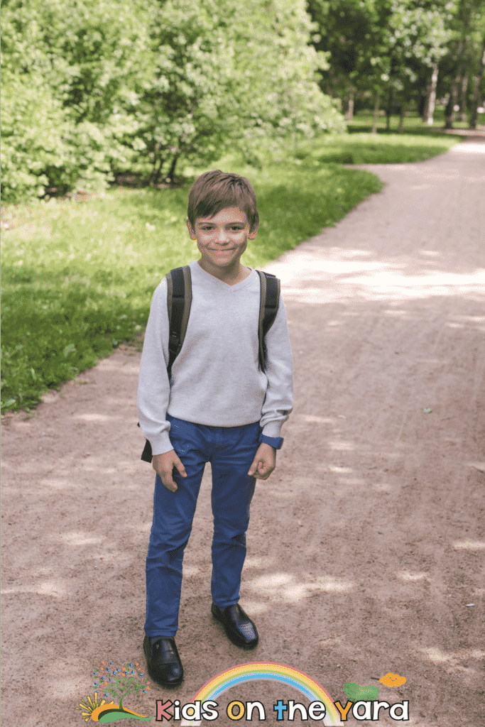 Back to school, happy boy with a backpack